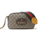 GUCCI 古馳 棕色老虎頭綠紅織帶斜背相機包 GG Supreme Messenger Bag 【BRAND OFF】