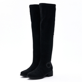 MICHELLE PARK 魅力格調 霧面拼飾中跟及膝靴-黑