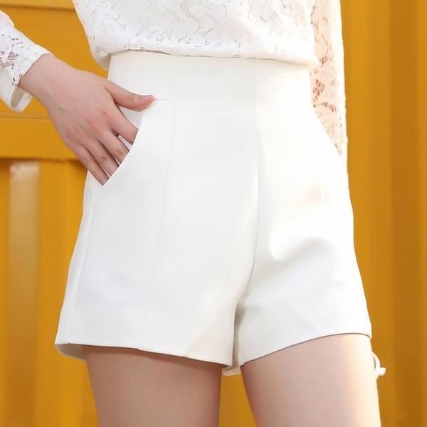 高腰短褲2021夏新款寬鬆春秋外穿白色a字顯瘦闊腿黑色西裝短褲女W 童趣屋 618狂歡