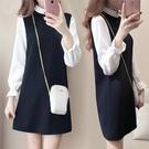 假兩件連身裙 ol洋裝M-3XL韓版喇叭袖顯瘦假兩件套中長款polo裙子長袖4F120-A.9244 依品國際
