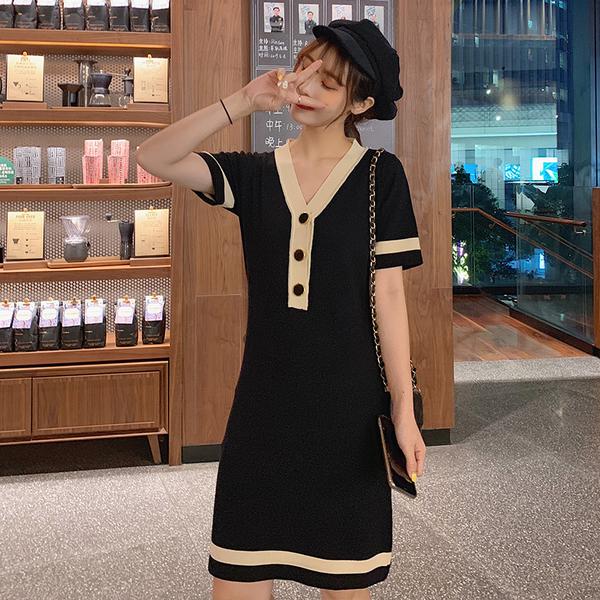 VK旗艦店 韓國小香風冰絲針織v領氣質拚色領口短袖洋裝