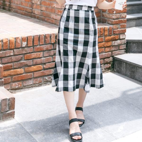 韓國製.經典修身黑白灰格子魚尾高腰長裙.白鳥麗子