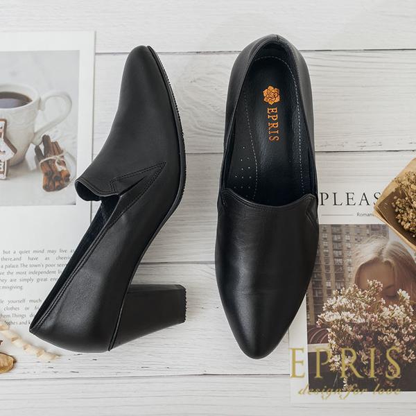 現貨 尖頭粗跟鞋 約會跟鞋推薦 摩登女伶 真皮腳墊MIT 20-26 EPRIS艾佩絲-摩登黑
