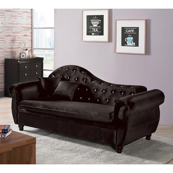 【森可家居】辛菲黑色貴妃椅 10ZX245-3絨布 沙發 水鑽 奢華 宮廷風 貴族