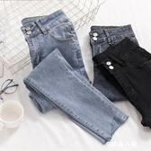 牛仔褲女秋季新款韓版高腰緊身顯瘦不規則褲腳淺色九分小腳鉛筆褲 9號潮人館