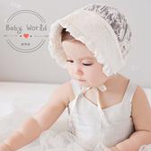 帽子女童公主花朵布蕾絲寶寶嬰兒空調帽BW