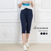 運動褲--夏日風格運動透氣羅紋褲口抽繩鬆緊棉質七分褲(黑.灰.藍XL-3L)-S91眼圈熊中大尺碼