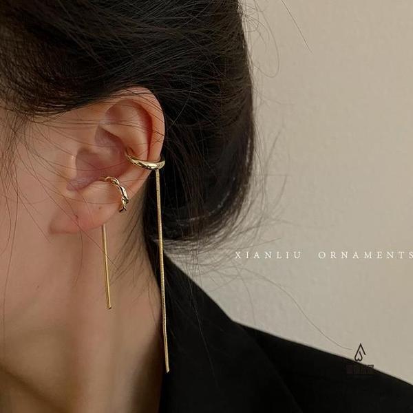 復古金屬耳夾耳骨夾無耳洞女長款耳線耳鏈【愛物及屋】