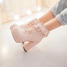 粗跟短靴 鞋碼[33-45] 日系甜美洛...
