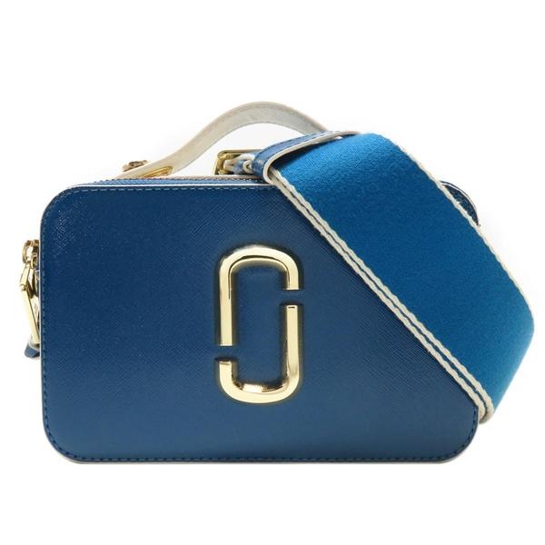 藍色拚白色防刮牛皮斜背相機包