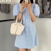 素t洋裝 連身裙 復古泡泡袖 小方領收腰顯瘦。連身裙跨107-A.依品國際