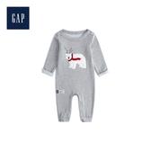 Gap嬰兒 圓領長袖一體式包屁衣513705-麻灰色