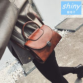 【P133】shiny藍格子-復古女包.秋冬百搭手提單肩斜挎小方包