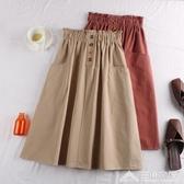 高腰純色口袋半身裙百搭鬆緊腰休閒中長款裙子女 三角衣櫃11-20