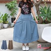 長裙--文藝簡約棉麻感緊褲頭壓折素雅長裙(藍.可可XL-4L)-Q61眼圈熊中大尺碼◎