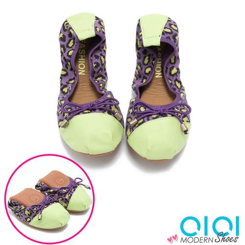 娃娃鞋 豹紋雙拼蝴蝶結口袋娃娃鞋(紫) * 0101shoes 【18-A07pu】【現+預】
