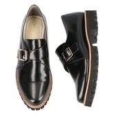 【ORiental TRaffic】皮帶釦飾厚底樂福鞋-經典黑