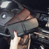 男手拿包  原創韓版男女手拿包抽繩手抓包復古折疊手包手機包定型手包多卡位