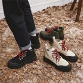 秋冬新款潮鞋高幫馬丁靴男英倫復古百搭韓版工裝靴厚底休閑帆布鞋 『居享優品』