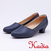 kadia .氣質OL 素面牛皮粗低跟9544 50 藍色