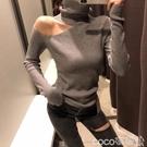 熱賣露肩針織上衣 2021秋冬季洋氣高領上衣套頭露肩修身內搭打底針織衫女長袖毛衣潮 coco