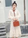 中長款高領白色打底裙2020新款法式加絨內搭長袖蕾絲連身裙女秋冬「時尚彩虹屋」