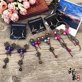 巴塞羅那風情歐美復古耳環紫水晶花朵玉石耳飾民族風氣質流蘇耳墜【萬聖節推薦】