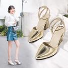 大尺碼女鞋 2019夏春季新款時尚顯瘦百搭舒適粗高跟尖頭涼鞋~2色