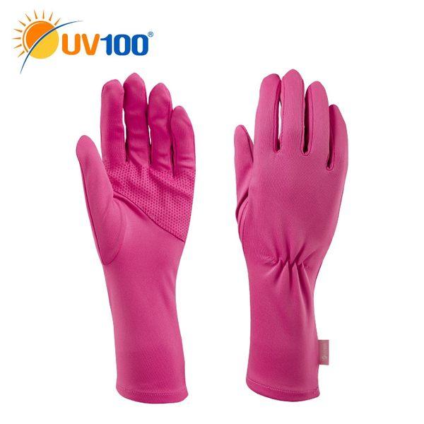 UV100 防曬 抗UV-純色纖細中長手套-女