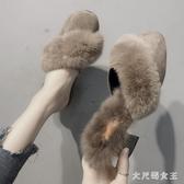 毛毛拖鞋 女外穿2019秋冬新款粗跟高跟包頭半拖鞋潮百搭穆勒鞋 BT16889【大尺碼女王】