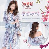 情趣睡衣 推薦新品 愛戀風情!輕柔雪紡印花喇叭袖睡袍