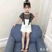 短袖背帶女童套裝 童裝夏裝2019新款韓版時髦小女兒童洋氣短褲兩件套 FR8718『俏美人大尺碼』