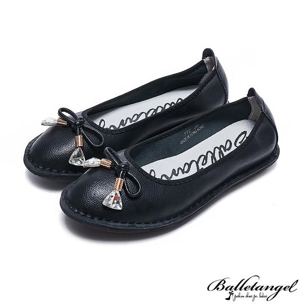 娃娃鞋 輕甜蝴蝶結軟Q牛皮娃娃鞋(黑)*BalletAngel【18-772bk】【現貨】