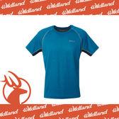 【Wildland 荒野 男 雙色拼接抗UV圓領上衣/L《藍綠》】0A61612-47/吸濕排汗/抗紫外線/短袖T恤/休閒/登山