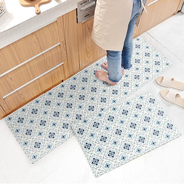 廚房/臥室/地墊/頂級PVC皮防水防滑皮革地墊45X150CM/波希米亞【半島良品】