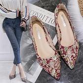 秀禾服婚鞋女新款水晶鞋子百搭粗跟低跟新娘鞋紅色單鞋女平底 雙12全館免運