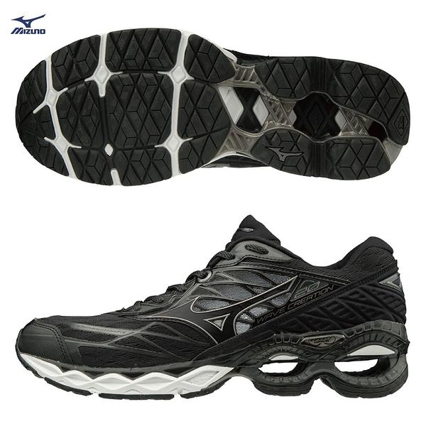 MIZUNO WAVE CREATION 20 男鞋 慢跑 路跑 中高足弓 耐磨 舒適 彈性 黑【運動世界】J1GC190112