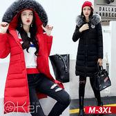 中大尺碼 冬裝新款韓風大毛領連帽加厚顯瘦中長款羽絨外套 M-3XL O-ker歐珂兒 158908-C