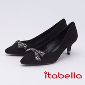 itabella.義式簡約 蝴蝶結飾釦高跟鞋(9565-93黑色)