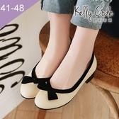 大尺碼女鞋-凱莉密碼-時尚潮流款復古緞帶蝴蝶結低跟娃娃鞋3cm(41-48)【XL09-1】杏色