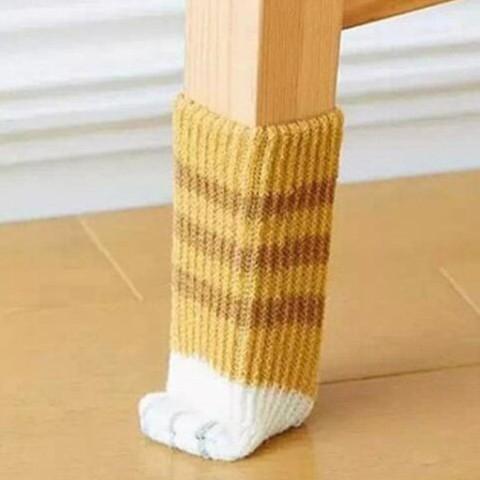 【BlueCat】貓咪小肉球腳掌桌腳套 椅腳套 (4入裝)