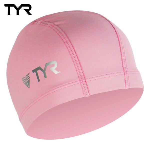 美國TYR 成人用萊卡彈性防水泳帽 Lycra PU Coating Swim Cap Pink 台灣總代理