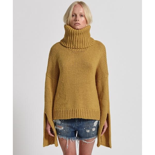 OneTeaspoon 針織上衣 WINONA KEYHOLE ROLL NECK SWEATER - 20%羊毛成分-黃(女)