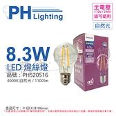 PHILIPS飛利浦 LED 8.3W 4000K 自然光 全電壓 E27 仿鎢絲 燈絲燈 球泡燈 _ PH520516