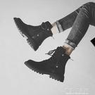 黑色馬丁靴女秋冬新款英倫風帥氣短靴百搭平...