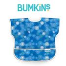 美國Bumkins 兒童短袖防水圍兜 -藍波紋 BKU-530
