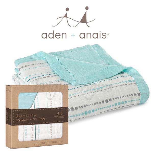 美國Aden+Anais 竹纖維四層厚毯 藍色小水滴9301
