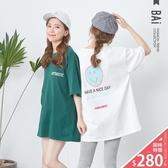 T恤 大大的笑臉英字印圖微厚棉寬版上衣-BAi白媽媽【301120】