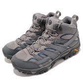 Merrell 戶外鞋 Moab 2 Mid GTX 灰 藍 Vibram大底 健行 登山鞋 男鞋 【PUMP306】 ML06067
