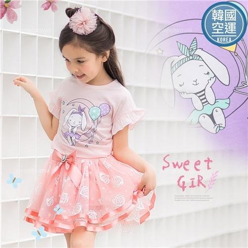 韓國童裝~夢想氣球月亮兔-超薄上衣-2色(270432)【水娃娃時尚童裝】